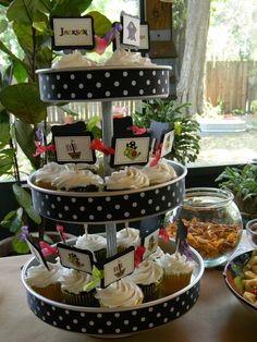 Cake Pan tiers.  Love this idea.  Can change colors and themes with ribbon or scrapbook paper!
