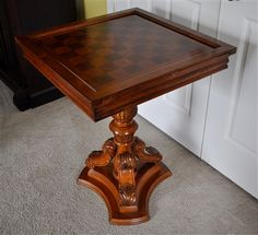 Wooden game table with Backgammon and Chess board.