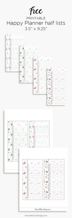 Free Printable Happy Planner Half List Inserts from Hanna Nilsson Design {newsletter subscription required}