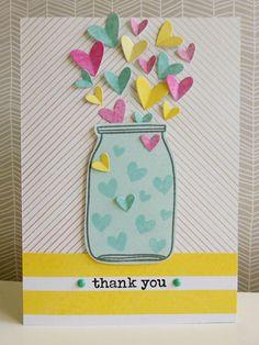 Dear Lizzy - Serendipity - Jar of heartfelt thanks Handmade Teachers Day Cards, Teacher Thank You Cards, Thank You Cards From Kids, Teachers Day Greeting Card, Handmade Thank You Cards, Kids Cards, Greeting Cards Handmade, Teacher Birthday Card, Creative Birthday Cards