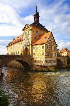 Medieval town hall on the bridge Bamberg Bavaria
