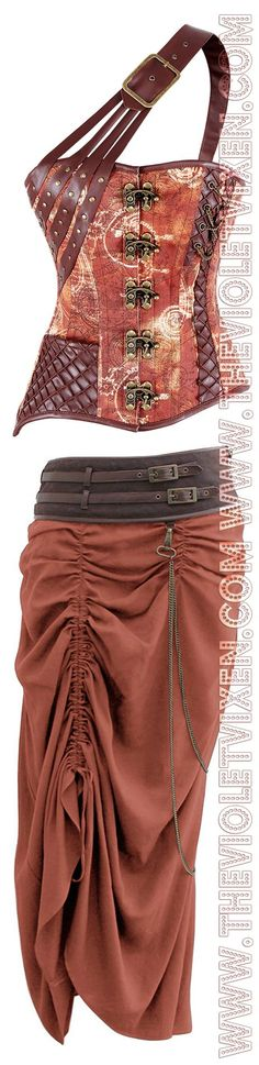 Gorgeous steampunk set! That one shoulder look is perfect!: