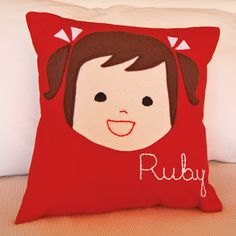 Olliegraphic Pillow from Sarah + Abraham. LOVE THESE! Got one for my niece and it was amazing. Great for any kid! Perfect gift idea for that special little someone. (https://sarahandabraham.com/item.php?item_id=550_id=166=6)
