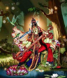 Saraswati Goddess, Shiva Shakti, Goddess Art, Saraswati Mata, Indian Goddess Kali, Indian Gods, Mother Kali, Indian Contemporary Art, Kali Mata