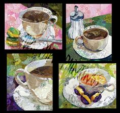 Cafe Set - Torn Paper Paintings by Wanda Edwards Paper Collage Art, Collage Art Mixed Media, Painting Collage, Painting Gallery, Paper Art, 3d Collage, Collage Ideas, Cut Paper, Paintings