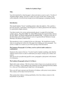 image result for outline for synthesis paper writing worksheets outline for synthesis