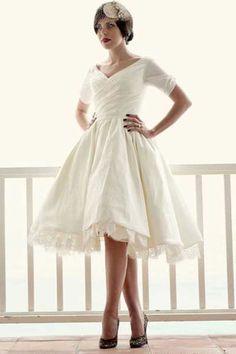 Hello Three quarter sleeve calf length wrap dress. won't you be my Wedding dress someday?!