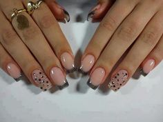 See more Silver borders and diamond engravings nail style for ladies