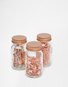 Buy Paperchase Get Organised Set of 3 Copper Clip & Pin Jars at ASOS. Get the latest trends with ASOS now. Stationary School, Cute Stationary, Rose Gold Rooms, Deco Rose, Uni Room, Copper Rose, Copper Metal, Paperchase, Desk Organization