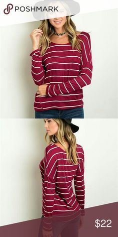 **COMING SOON** Burgundy Striped Top So ready for fall!!!!   Long sleeve striped scoop neck, loose fitted, jersey top.  95% Rayon 5% Spandex   Price firm! No offers please!  5% off 2 piece bundle  10% off 3 piece bundle   No trades. No holds. Tops Tees - Long Sleeve