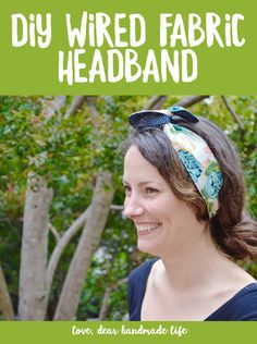 DIY Wired Fabric Headband from Dear Handmade Life Small Sewing Projects, Diy Craft Projects, Sewing Ideas, Headband Hairstyles, Diy Hairstyles, Easy Thanksgiving Crafts, Wire Headband, How To Make Headbands, Fabric Headbands
