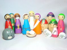Nativity Set 15 pc Bright Color Wood Peg Doll/People por Pegged