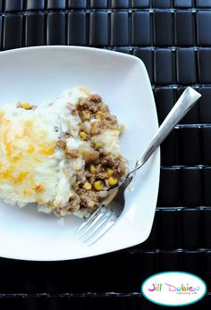 Shepards Pie  (I put gravy on top instead of cheese, and no onions or carrots)