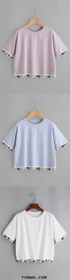 Drop Shoulder Pom Pom T-shirt