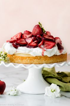 One Layer Strawberry Shortcake Cake | Sally's Baking Addiction