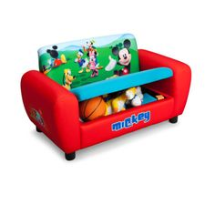 Mickey Mouse Toddlers' Sofa Disney Upholstered Couch w/ Storage Soft & Sturdy