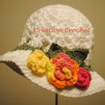 Free Toddler Spring or Easter Hat Shell Stitch Easter Hat with Spring Blossoms
