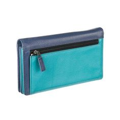 A sturdy Fair Trade orange peel textured leather purse with a dark blue front and a teal back. The inside is teal with alternate light and dark blue sections. #fair #trade #ethical #gifts #shopping #accessories #oxfam