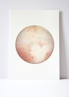 Pluto Watercolour Planet art Planet Watercolor by ArtByRachelCard