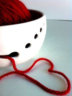Pure White Ceramic Wheel Thrown Yarn Bowl - Made To Order by NewMoonStudio on Etsy https://www.etsy.com/listing/121008181/pure-white-ceramic-wheel-thrown-yarn