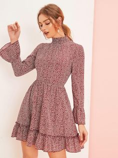 Find SheIn Women's Bell Long Sleeve Ruffle Layer Hem Floral Flare Short A Line Dress online. Shop the latest collection of SheIn Women's Bell Long Sleeve Ruffle Layer Hem Floral Flare Short A Line Dress from the popular stores - all in one Fall Dresses, Cute Dresses, Casual Dresses, Short Dresses, Summer Dresses, Women's Dresses, Women's A Line Dresses, Short A Line Dress, Dress Long