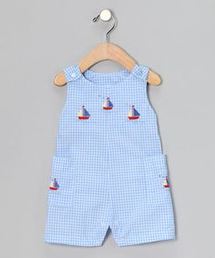 Take a look at this Blue Sailboat Gingham Shortalls - Infant by Fourth of July Boutique on #zulily today!