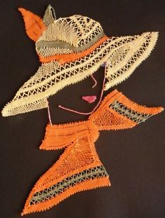 La dame au chapeau de Frédérique Guerineau Machine Embroidery Designs, Hand Embroidery, Bobbin Lacemaking, Bobbin Lace Patterns, Lace Heart, Parchment Craft, Lace Jewelry, Lace Making, Fabric Painting