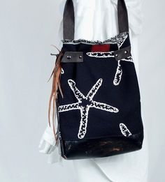 Boho Chic Bag Starfish Print Tote bag Gift for by Trijoux on Etsy