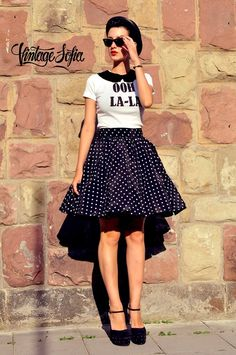 Black Skirt with white dots