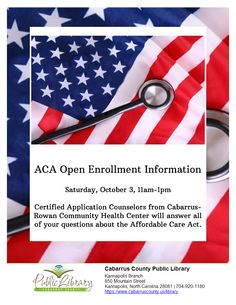 Providing answers about the ACA is such an essential program to offer citizens- love the flier Cabarrus County Public Library designed using LibraryAware's border template.