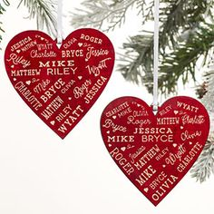 The Close To Her Heart Personalized Red Wood Christmas Ornament is a wonderful gift for grandparents and large families. This ornament features up to 44 names engraved into a heart shape on the front and back of the ornament. Wooden Christmas Tree Decorations, Wood Ornaments, Personalized Christmas Ornaments, Xmas Ornaments, Christmas Crafts, Christmas Christmas, Christmas Ideas, Personalized Garden Stones, Personalized Puzzles