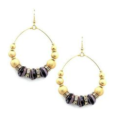 """Fashion Stone Earrings; 3"""" drop from the post; 2""""W; Gold textured metallic balls and purple zebra stones; Clear rhinestone accen; Eileen's Collection. $24.99"""