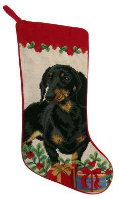 """Black Dachshund Dog Christmas Needlepoint Stocking - 11"""" x 18"""""""