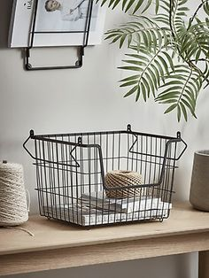 NEW Black Wire Stackable Basket - Large