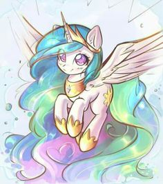 Celestia with endless mane and tail Hover With Me Until We Reach The End Dessin My Little Pony, My Little Pony Drawing, Mlp My Little Pony, My Little Pony Friendship, Unicorn Drawing, Unicorn Art, Cute Unicorn, Princesa Celestia, Celestia And Luna