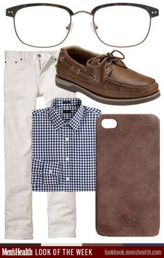 """menshealthstyle: """" Keep it preppy and casual with this look of the week. Shoe: Sperry Shirt & iPhone case: J. Crew Pants: Uniqlo Glasses: Moscot """""""