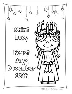 saint lucy coloring page also available in a saint lucia version st lucia day