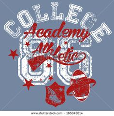 retro style college sports vector art - stock vector
