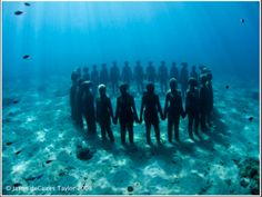 """Sculptures of real people that are submerged underwater to allow a reef to form on them and become part of the underwater landscape.""""Vicissitudes"""" Underwater sculpture park in Grenada, West Indies Underwater Sculpture, Underwater Art, Underwater Photography, Sculpture Art, Sculpture Garden, Underwater House, Sculpture Museum, Modern Sculpture, Under The Water"""