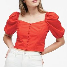 Hot Red Puff-Sleeve Cropped Top on Mercari Red Crop Top, Cropped Top, Lemon Top, Plain Tops, Cute Tops, Summer Outfits, Ruffle Blouse, Fashion Outfits, Couture