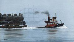 pacific northwest,alaska,tug and tractor paintings Nautical Painting, Nautical Art, Tug Boats For Sale, Nautilus Submarine, Tugboats, Railroad History, Float Your Boat, Train Art, Rail Car