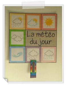"Affichage ""La météo du jour"" French Teaching Resources, Teaching French, Preschool At Home, Toddler Preschool, Daycare Organization, French Education, Kindergarten Games, Teachers Corner, French Classroom"