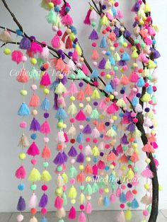 Wall hanging home decor, bunting, outdoors, multicolor pom pom, hippie bohe Pom Pom Crafts, Yarn Crafts, Diy Crafts, Diy Craft Projects, Crafts For Kids, Arts And Crafts, Spring Window Display, Pom Pom Mobile, Mexican Party Decorations
