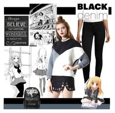 """""""Denim Trend: Black Jeans"""" by yours-styling-best-friend ❤ liked on Polyvore featuring storets, cutekawaii and Universal Lighting and Decor"""