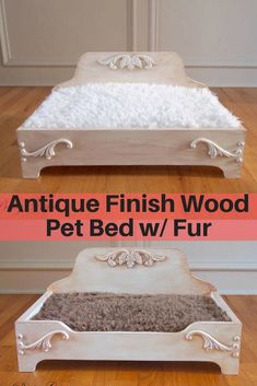 Farmhouse or country style #pet bed from Etsy with faux fur mattress. #ad #petbed #catbed #dogbed #petfurniture