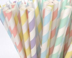 MIXED PASTEL Paper Straws Paper Drinking by myvintageteaparty