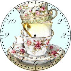 Termino el te. Vintage Diy, Decoupage Vintage, Decoupage Paper, Vintage Ephemera, Vintage Paper, Vintage Clocks, Vintage Labels, Diy Image, Clock Face Printable