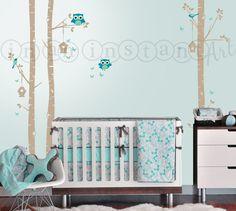 Búho y abedul árbol de etiqueta de la pared, abedul y buho la etiqueta, Birch forest, abedules para vivero, hijos o niños habitación 018