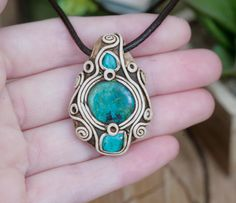 Chrysocolla polymer clay pendant. Unique jewelry, handmade by WhimsicalCrystals on Etsy https://www.etsy.com/listing/464340409/chrysocolla-polymer-clay-pendant-unique