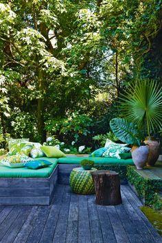 Exterior decor in teal Outdoor Areas, Outdoor Rooms, Outdoor Living, Outdoor Decor, Outdoor Seating, Outdoor Lounge, Magic Garden, Outside Living, Garden Spaces